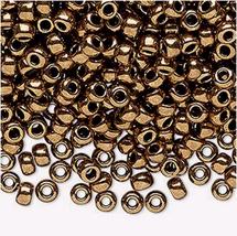 Miyuki 6/0, Met Dk Gold 457, Round Seed Bead, 50g glass beads, rocaille, bronze - $23.00