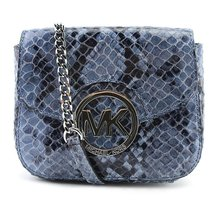 Michael Kors Fulton Crossbody Denim Small Genuinie Leather python - $187.98