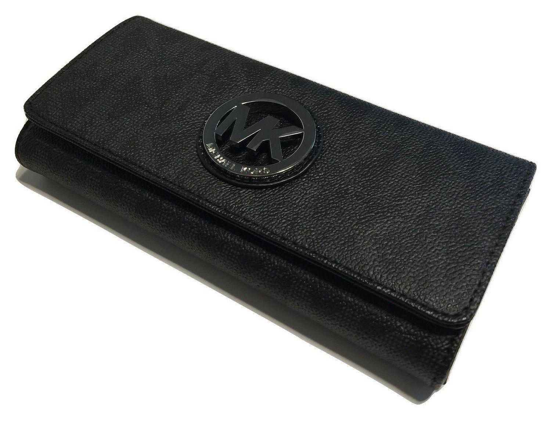a5008fea86a7ba 71auovxwa 2bl. 71auovxwa 2bl. Previous. Michael Kors Fulton Flap  Continental Wallet Signature MK Black PVC
