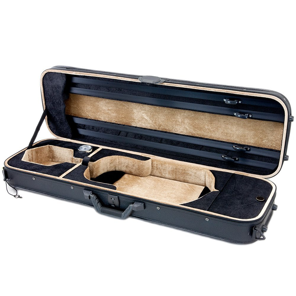 SKY Violin Oblong Case Solid Wood Imitation Leather with Hygrometers Black/Bl...