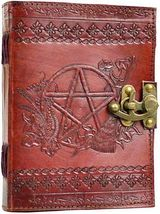 """ORNATE PENTACLE LEATHER BLANK BOOK w/LATCH - 5"""" x 7""""  Unlined  240 Pages - $24.50"""
