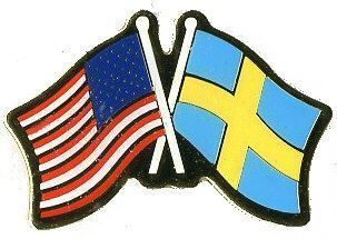 12 Pins - SWEDEN & AMERICAN FLAG , swedish us 728