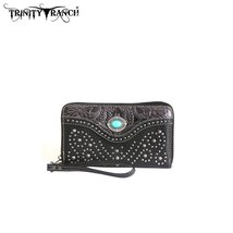 TR14-W003 Montana West Trinity Ranch Tooled Design Wallet-Black - $29.69
