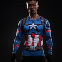 2016 Marvel Captain American Long SleeveT-Shirt 3D Printed Fitness Cosplay Top - $10.99