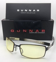 New GUNNAR Computer Glasses PPK 57-20 Onyx Black & Mercury Frame w/ Amber Yellow