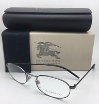 New BURBERRY Eyeglasses B 1273 1008 52-19 Gunmetal & Plaid Classic Oval Frames