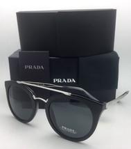 New PRADA Sunglasses SPR 23S 1AB-1A1 52-22 Black & Silver Frame w/ Grey Lenses