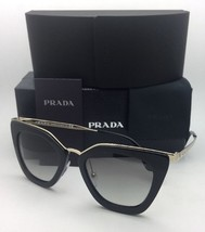 New PRADA Sunglasses SPR 53S 1AB-0A7 52-21 Black & Gold Frame w/ Grey Gradient