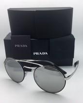 New PRADA Sunglasses SPR 51S 1AB-2B0 54-22 Silver & Black Frame w/ Grey+Mirror