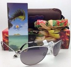 POLARIZED MAUI JIM Sunglasses BABY BEACH MJ 245-17 Silver Aviator /Grey ... - $299.95