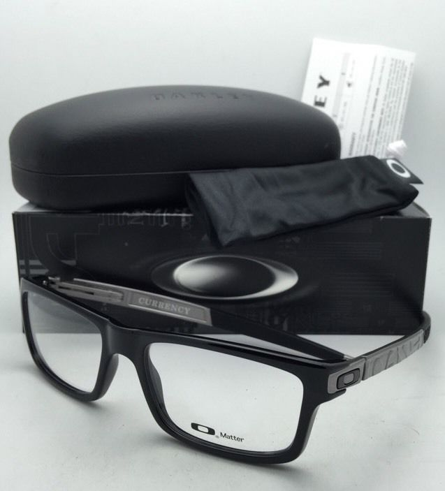 New OAKLEY Eyeglasses CURRENCY OX8026-0554 54-17 Polished Black Frames w/ Clear