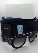 New PRADA Sunglasses SPR 13S 1AB-0A7 54-25 Black & Silver Frame w/ Grey Gradient