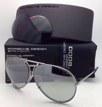 PORSCHE DESIGN Titanium Aviator Sunglasses P'8478 B Silver 66-10 w/ 2 Lens Sets