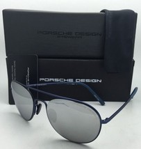 PORSCHE DESIGN Titanium Aviator Sunglasses P'8606 A 54-19 Blue w/ Silver Mirror