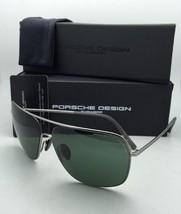 New PORSCHE DESIGN Aviator Sunglasses P'8607 C 63-13 Gunmetal Frame w/Green Lens
