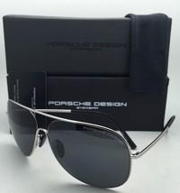 PORSCHE DESIGN Titanium Aviator Sunglasses P'8605 C 64-12 Gunmetal Frames w/Grey