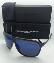 New PORSCHE DESIGN Sunglasses P'8618 B P'86BF V Grey & Black Frame w/Blue Mirror