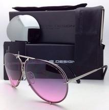 PORSCHE DESIGN Titanium Aviator Sunglasses P'8478 M 63-10 Silver w/2 Lens Sets