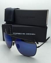 New PORSCHE DESIGN Aviator Sunglasses P'8607 A 63-13 Black Frames w/ Blue Mirror