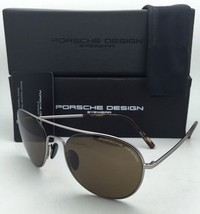 PORSCHE DESIGN Titanium Aviator Sunglasses P'8606 B 54-19 Gunmetal Frame w/Brown