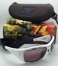 Polarized MAUI JIM Sunglasses MJ 410-05 WATERMAN White Frame w/ Maui Rose Lenses