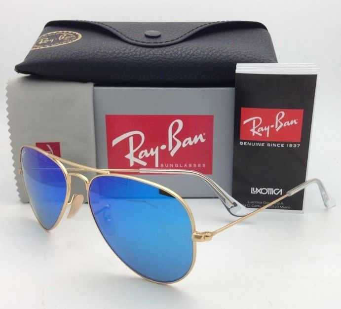 Ray-Ban Sunglasses RB 3025 Large Metal 112/17 58-14 Gold w/ Multi-Blue Mirror