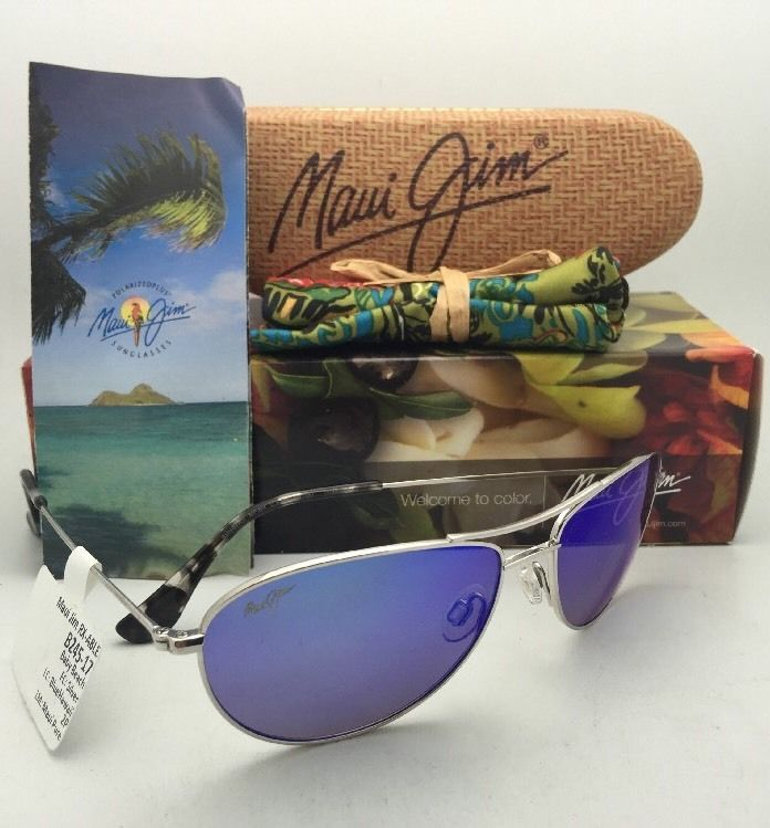 Polarized MAUI JIM Titanium Sunglasses Baby Beach 245-17 Silver w/ Blue Hawaii