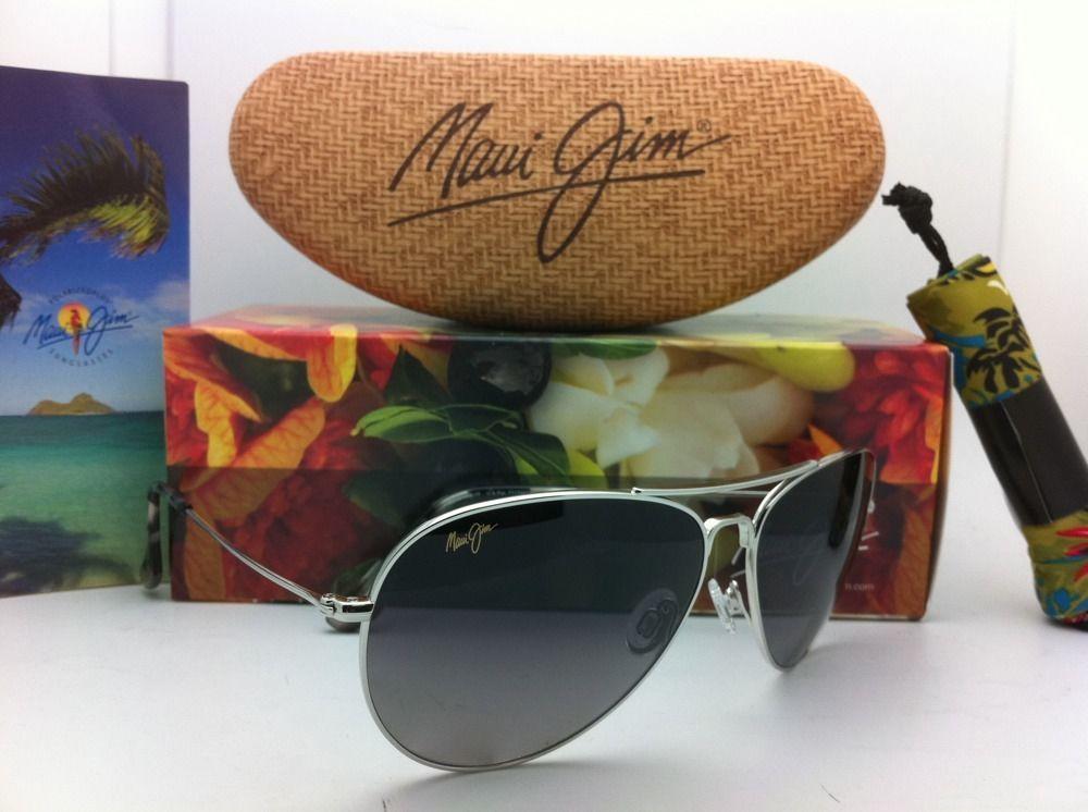 MAUI JIM Titanium Sunglasses MAVERICKS GS 264-17 Silver w/Neutral Grey Polarized