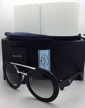 New PRADA Sunglasses SPR 15S 1AB-0A7 Black Leather & Silver Frame w/ Gre... - $619.95