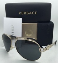 New VERSACE Sunglasses VE 2160 1252/87 63-14 Gold & Black Aviator Frames w/ Gray