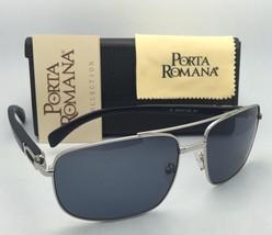 PORTA ROMANA Sunglasses 1963 600 63-17 Aviator Silver & Black Wood w/Grey Lenses