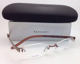 New KAZUO KAWASAKI Eyeglasses MP 704 43 50-19 Titanium Rimless Brown/Snake Frame