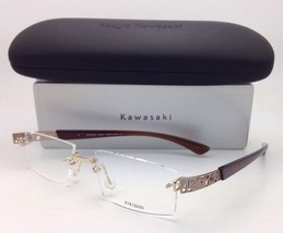 6d7cfe350d3a New KAZUO KAWASAKI Eyeglasses MP 708 43 51-19 Titanium Rimless  Gold amp Brown Frames