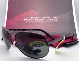 SUNCLOUD POLARIZED OPTICS Sunglasses AVIATOR Gunmetal w/ Grey +1.5 READER Lenses
