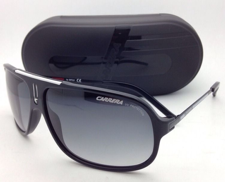 New Sunglasses CARRERA COOL/S F83 7V 65-12 Black Aviator Frame w/ Gray Gradient