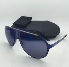 New Sunglasses CARRERA CHAMPION/MT 6VXXT Aviator Matte Blue Frame w/ Blue Mirror