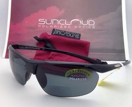 New SUNCLOUD POLARIZED OPTICS Sunglasses ZEPHYR Black w/ Grey +1.5 READER Lenses