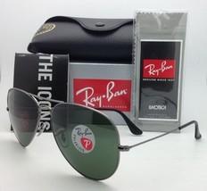 Polarized Ray-Ban Sunglasses LARGE METAL RB 3025 004/58 Gunmetal w/ Green Lenses