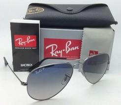 Polarized Ray-Ban Sunglasses LARGE METAL RB 3025 004/78 Gunmetal w/ Blue to Grey