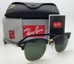 New CLUBMASTER Ray-Ban Sunglasses RB 3016 W0365 Black & Gold w/G-15 Gree... - $149.95