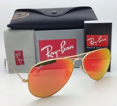 Ray-Ban Sunglasses RB 3025 Large Metal 112/69 58-14 Matte Gold w/ Orange Mirror