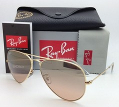 Ray-Ban Sunglasses RB 3025 Large Metal 001/3E 58-14 Gold w/ Brown pink gradient