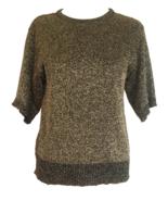80s Vintage Gold and Black Bronze Metallic Jersey Knit Crew Neck Sweater... - $33.00