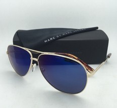 MARC By MARC JACOBS Sunglasses MMJ 444/S J5G1G Gold Aviator w/ Grey+Blue Mirror