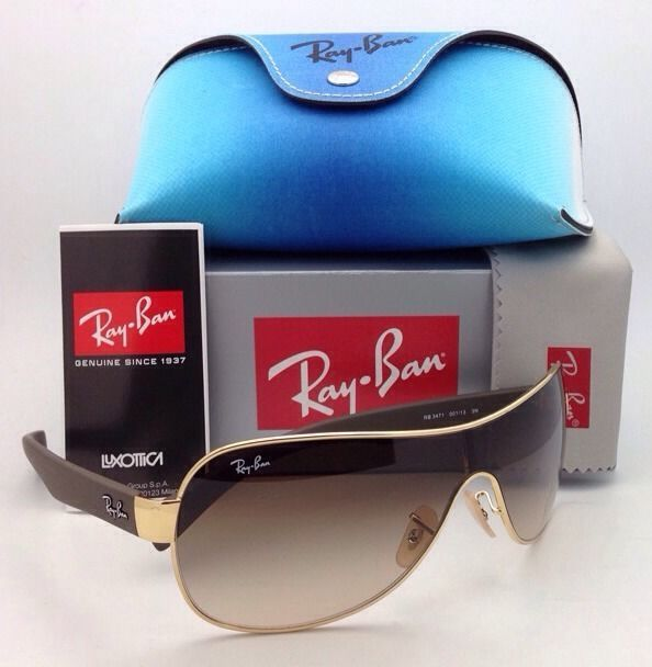 6567698bc4 S l1600. S l1600. Previous. New RAY-BAN Sunglasses RB 3471 001 13 Gold    Brown Shield Frame Gradient