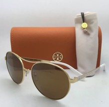 New TORY BURCH Sunglasses TY 6037 304797 56-16 Gold & Ivory White w/Brown Lenses