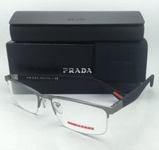 New PRADA Eyeglasses VPS 52F UA3-1O1 52-18 Half-Rim Matte Gunmetal & Bla... - $199.95