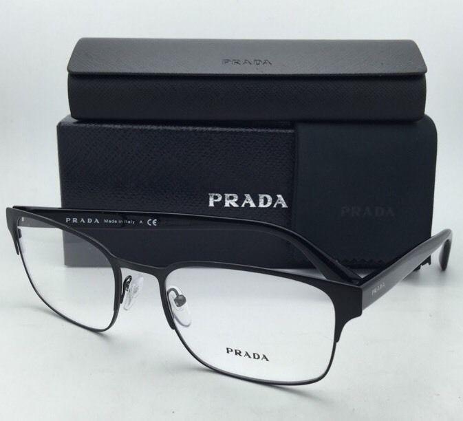b572e065864 New PRADA Eyeglasses VPR 64R 1BO-1O1 55-19 Matte Black   Black Frames w   Clear -  219.95
