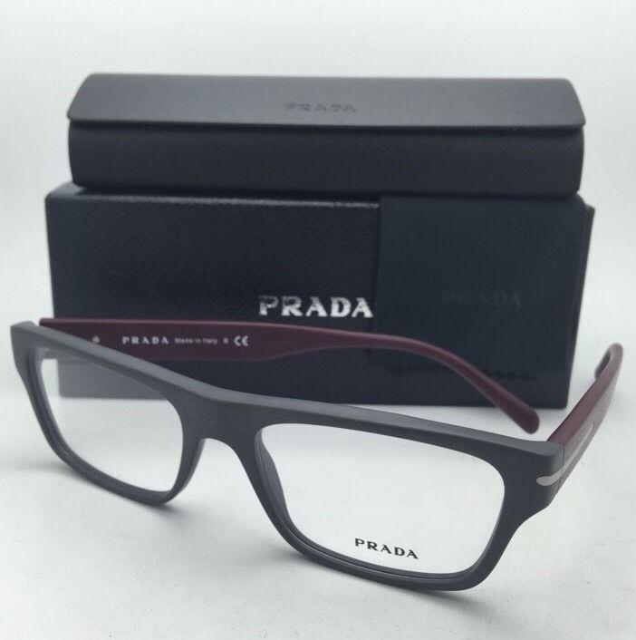 743edbb304013 New PRADA Eyeglasses VPR 18R TV4-1O1 55-18 145 Brushed Grey   Burgundy  Frames -  199.95