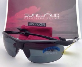 New SUNCLOUD POLARIZED OPTICS Sunglasses ZEPHYR Black w/ Grey +2.0 READER Lenses